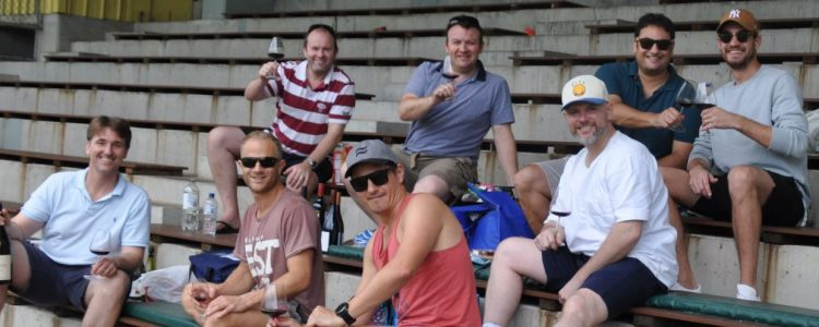 Former players Left to right: Adair Durie, Brett Rosen, Ed Howitt, James Packman, Matt Kelly, Julian Stephenson, Iqbal Ahmed and Elliot Richtor at Chatswood cheering on First Grade